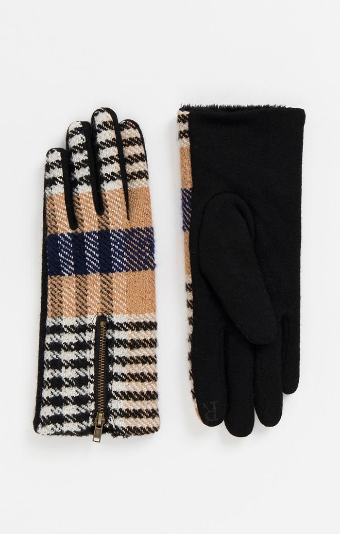 Beige and Navy Tartan Gloves