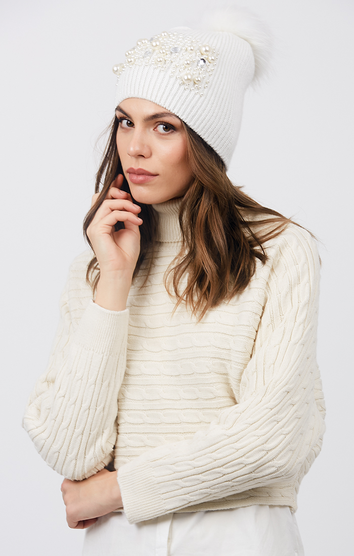 Krystal Hat - Ivory