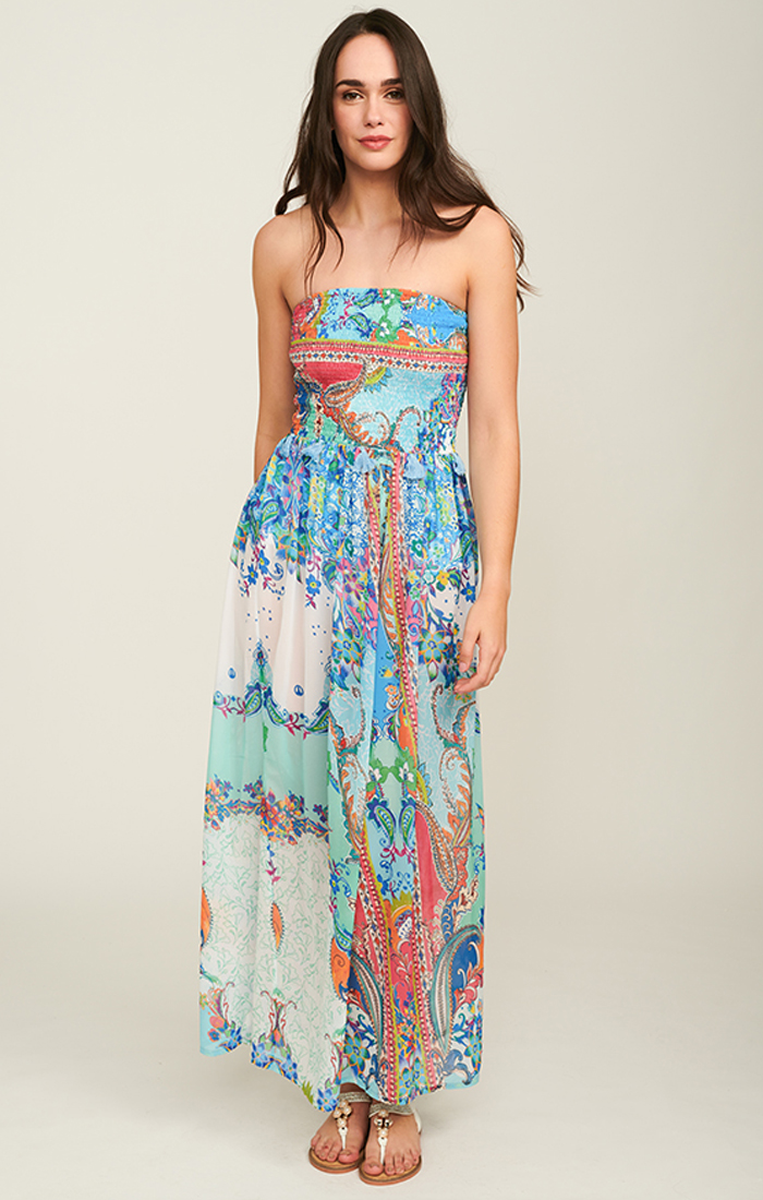 Cancun Strapless Maxi Dress - Multicoloured